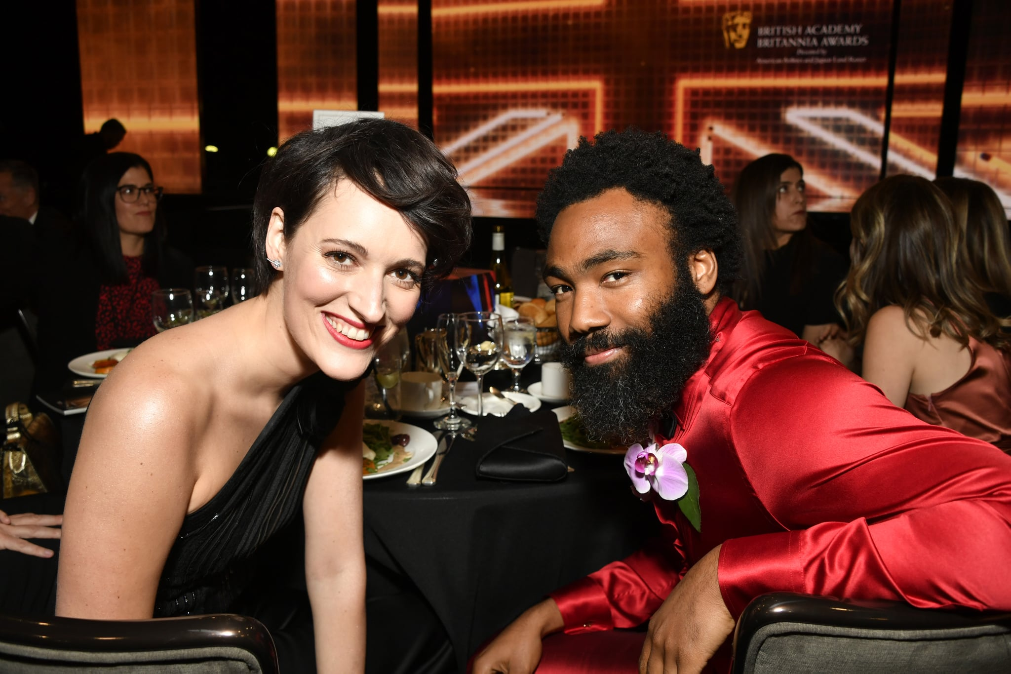 BEVERLY HILLS, CALIFORNIA - OCTOBER 25: (L-R) Phoebe Waller-Bridge and Donald Glover pose during the 2019 British Academy Britannia Awards presented by American Airlines and Jaguar Land Rover at The Beverly Hilton Hotel on October 25, 2019 in Beverly Hills, California. (Photo by Frazer Harrison/BAFTA LA/Getty Images for BAFTA LA)