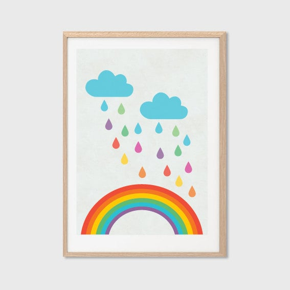 Rainbow raindrops add to the fun, retro-inspired vibe of this rainbow print ($8).