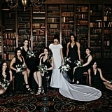 This gorgeous bride had her girls by her side in all black.