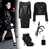 Take Kristen Stewart's smoldering play on all-black straight out to date night — seriously, can we talk about how hot this look is?! Her black-on-black spin only gets sexier with slick layered leather, tough-girl heels, and sultry eyeliner. Get the look:   Karl Lagerfeld Karl Dahli Faux Leather Dress ($290)  Topshop Quilted Collarless Biker Jacket ($360)  Alexander Wang Noemi Heels ($570)  Babor Maxi Definition Eye Liner ($16)  Essie Nail Polish ($8)