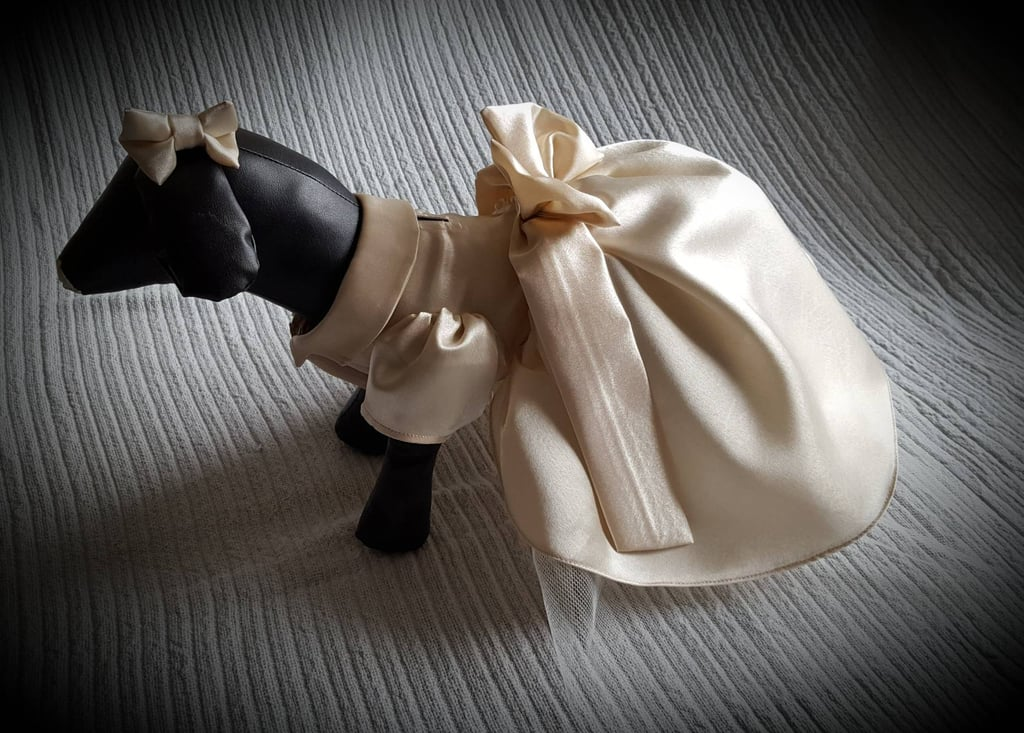 As a person who's getting married in three months, I can guarantee you that if my pup were into clothes, he'd be marching down the aisle in this gorgeous bridesmaid dress despite the fact he's a boy. But alas, my big black lab has never had a thing for fashion, so I'll leave it to all the other brides out there to make the most of this handmade Doggy Bridesmaid Dress ($81 and up) — it will certainly give the rest of your wedding party a run for their money. The satin dress comes in various sizes, meaning pooches big and small can get involved in your big day! Read through to get a look at this eye-catching dress we can't get enough of.      Related:                                                                                                           These Pups Deserve a Round of Appaws For Looking This Good in These Weddings