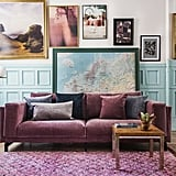 Pictured:   Bemz cover for Nockeby three seater sofa in zaragoza vintage velvet clover designed by Designers Guild Cushion covers in zaragoza vintage velvet mist, zaragoza vintage velvet zinc, zaragoza vintage velvet sea, and zaragoza vintage velvet clover designed by Designers Guild