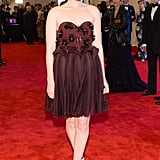 Delpozo Woolen Crepe Architectural Module Dress ($8,500), worn by Kate Mara Source: Joe Schildhorn/BFAnyc.com