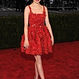 Emma Stone was lovely in a red Lanvin.