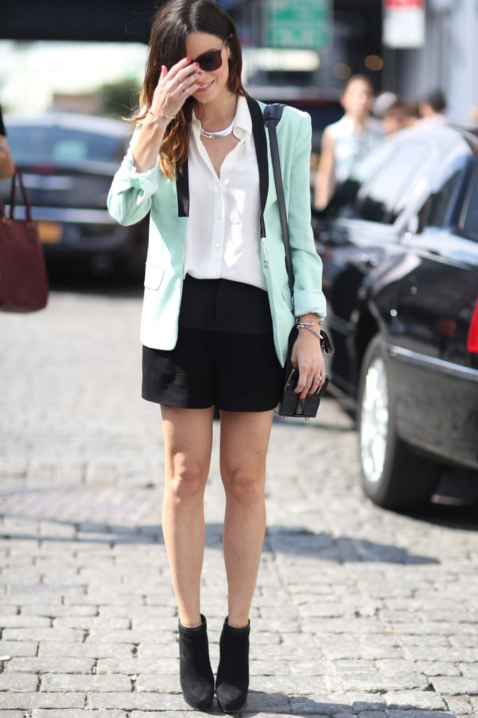 A ladylike jacket in a minty hue punched up a black and white look. Source: Greg Kessler