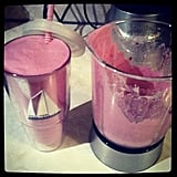 We love the pink hue of this smoothie made with blackberries, pineapple, milk, and vanilla whey protein. Source: Instagram user saraawarren