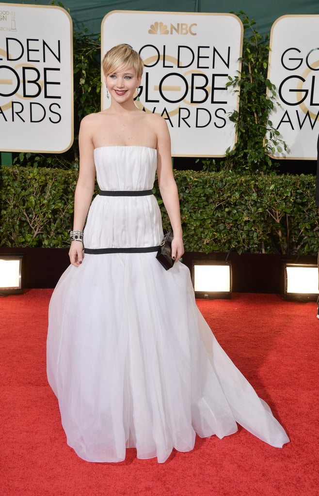 When Jennifer won best supporting actress for her role in American Hustle at the 71st annual Golden Globes, she wore this double-banded Dior gown.
