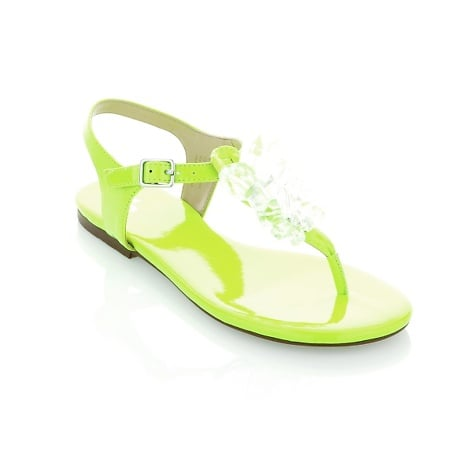 "June Ambrose ""Diana"" Flat Sandal Bring a touch of glam to the beach or lunch with the girls. Fresh neon shades amplify the ""wow"" factor."