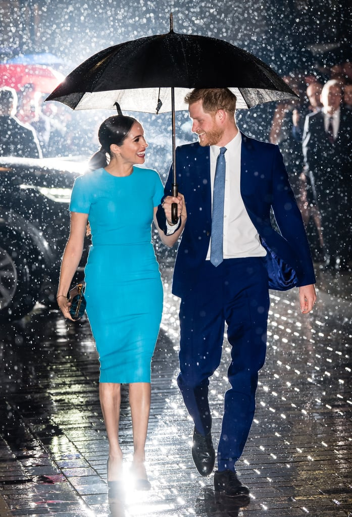 "Prince Harry and Meghan Markle returned to the spotlight on Thursday to celebrate the Endeavour Fund Awards in London. Meghan radiated in a blue Victoria Beckham dress, while Harry matched his wife in a navy suit. The Endeavour Fund — which supports wounded, injured, and sick servicemen and assists in their recovery — was launched by Harry in 2012 when he was a patron of The Royal Foundation. The event also marked Harry and Meghan's first joint public appearance since they announced their royal exit in January. The couple will officially be stepping down as senior members of the royal family on March 31. They will no longer hold an office at Buckingham Palace and will instead be represented by their UK charity foundation team. They will also split their time between the UK and North America, and Harry and Meghan will keep their HRH titles but not actively use them. They will continue to be known as the Duke and Duchess of Sussex, the Earl and Countess of Dumbarton, and the Baron and Baroness Kilkeel, though ""Just Harry"" works for Harry, too.  Following their Endeavour Fund Awards outing, Harry will join Lewis Hamilton in celebrating the museum opening of the Silverstone Experience on Friday. On March 7, he and Meghan will attend the Mountbatten Music Festival at Royal Albert Hall, and Meghan is expected to make an appearance for International Women's Day on March 8, though details are still unclear. Then on March 9, the duo will reunite with the royal family for Commonwealth Day service at Westminster Abbey. See more of Harry and Meghan's latest appearance ahead.       Related:                                                                                                           Prince Harry and Jon Bon Jovi's Song ""Unbroken"" Features the Invictus Games Choir, and It's Out Now"