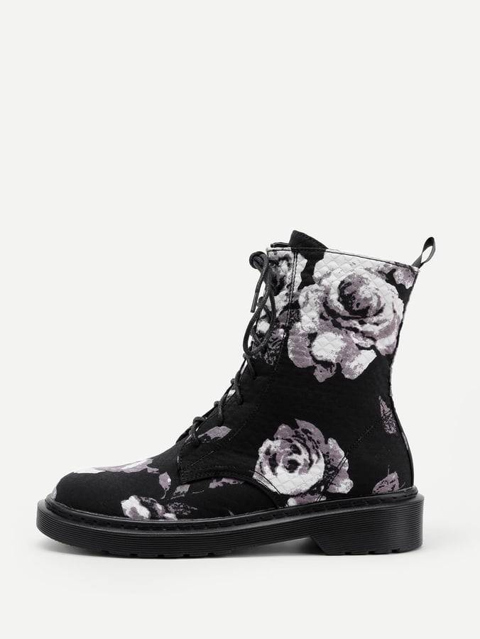 3bba42d5eec72 Shein Rose Print Lace-Up Boots | Cute Shoes From Shein | POPSUGAR ...