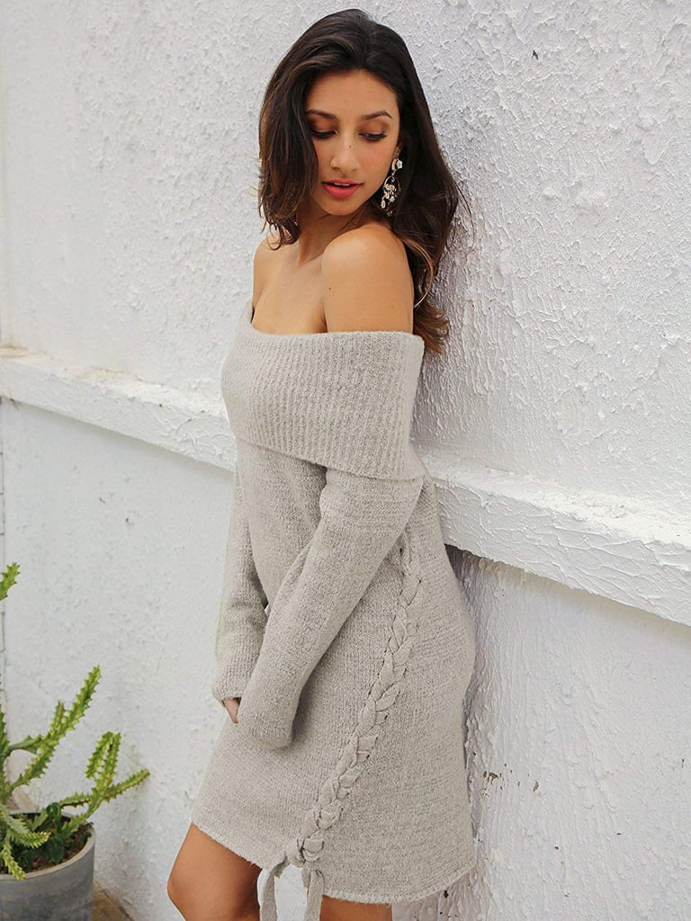 Simplee Apparel Lace-Up Sweater Dress