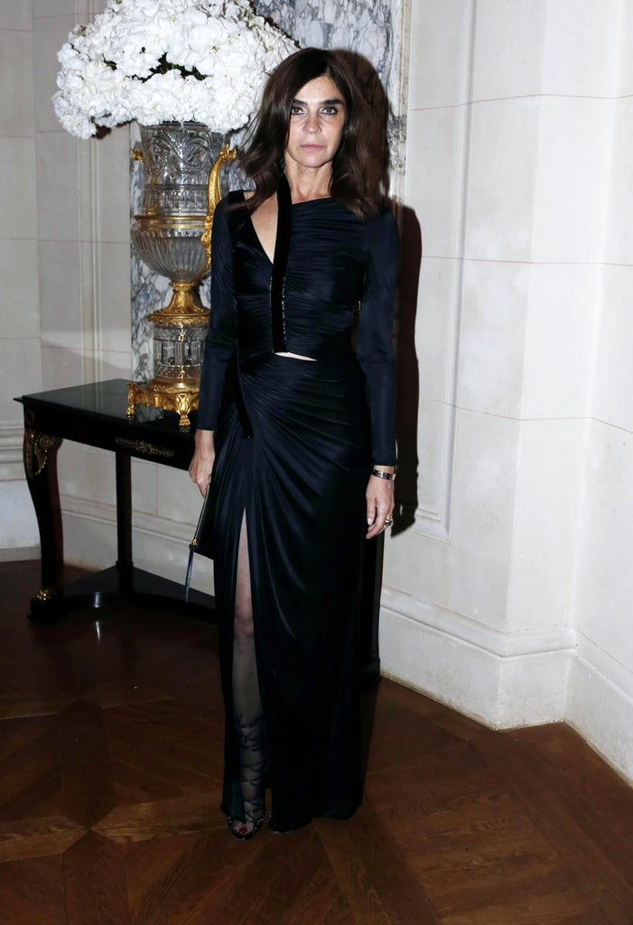 Carine Roitfeld looked sleek for her cocktail magazine launch party on Tuesday night in Paris for Fashion Week.