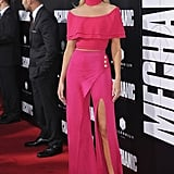 A hot pink Balmain two-piece was Rosie's choice for the premiere of Mechanic: Resurrection.