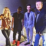 The Voice judges Usher, Shakira, Adam Levine, and Blake Shelton bonded. Source: Instagram user howuseeit