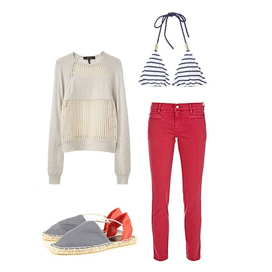 Bring your red jeans to the beach for an easy go-anywhere cover-up. Slip on an open knit to let your bikini peek out, and finish with your cutest flat espadrilles for strolling on the sand. Get the look:   MIH Paris Cropped Mid-Rise Skinny Jeans ($185) Isabel Marant Isabel Marant Elise Raglan Pullover ($365) Topshop Veronica Grey Espadrilles ($24) Heidi Klein Biscayne Striped String Bikini (bottoms not pictured) ($309)