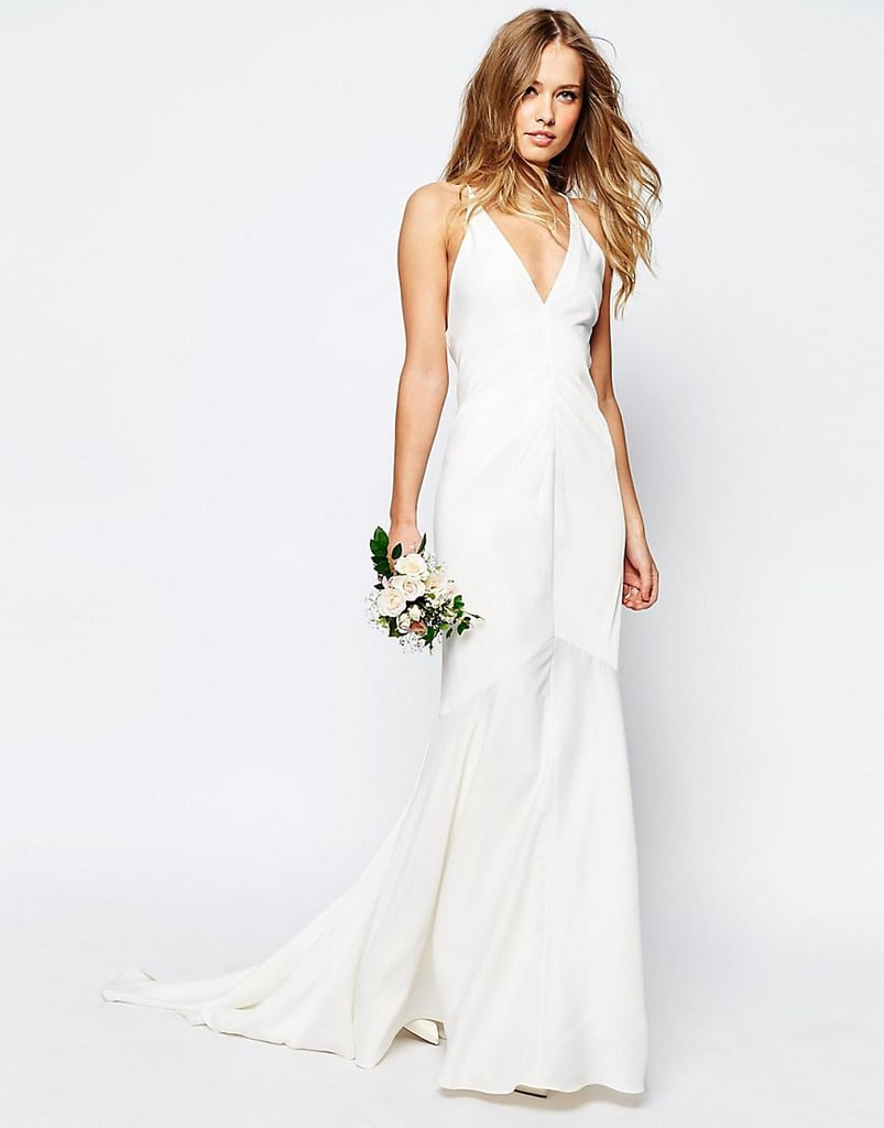 Asos Bridal Deep Plunge Strappy Fishtail Maxi Dress ($161)