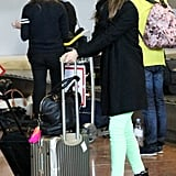 Jessica Alba gathered all of her bags in one place.