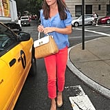 On Wednesday Sept. 5, Pippa wore her favourite Russell & Bromley Coco Pop wedges with her Kate Spade bag along with a pair of red skinnies and pale blue blouse.