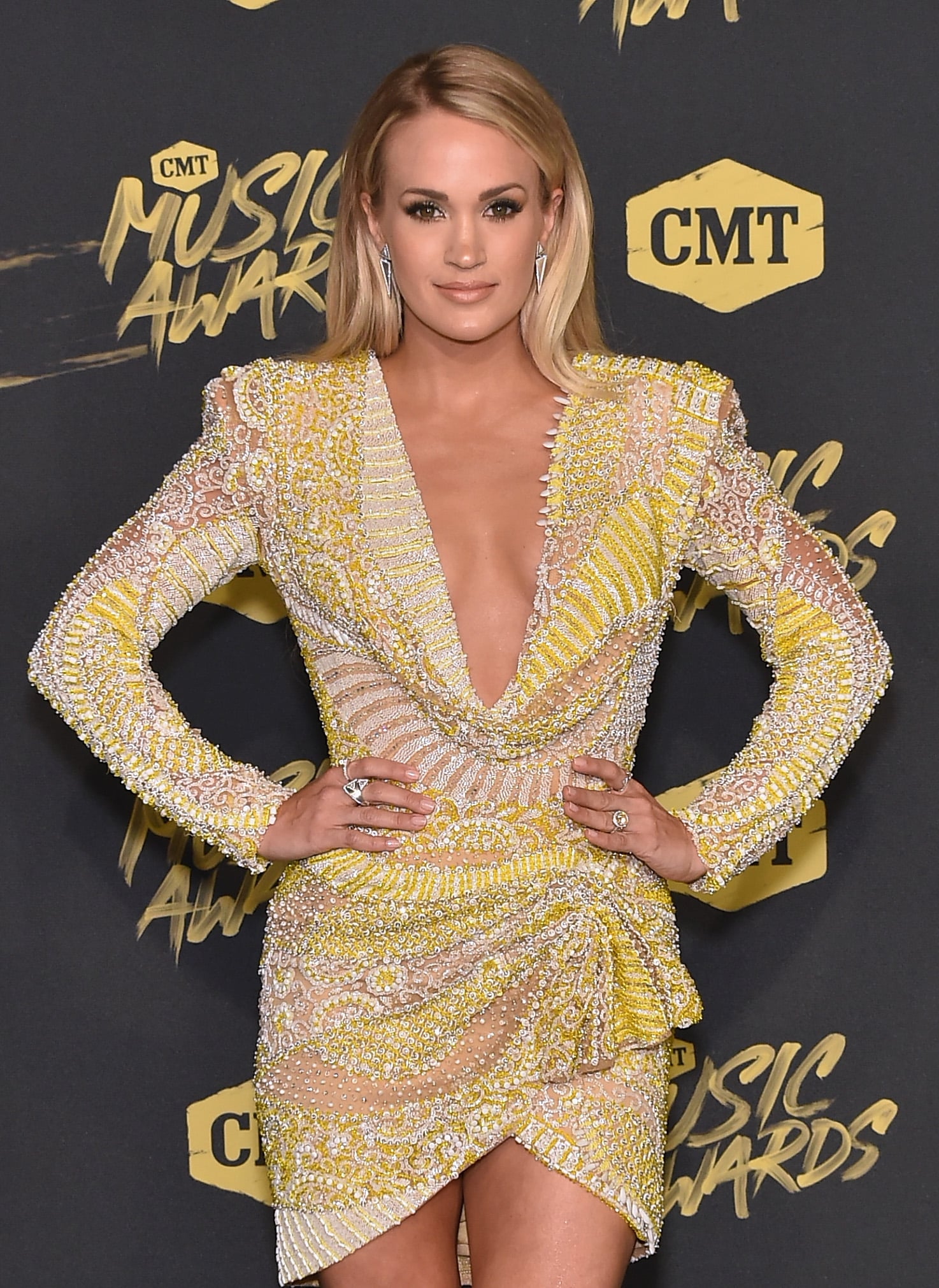 NASHVILLE, TN - JUNE 06:  Carrie Underwood attends the 2018 CMT Music Awards at Bridgestone Arena on June 6, 2018 in Nashville, Tennessee.  (Photo by Mike Coppola/Getty Images for CMT)