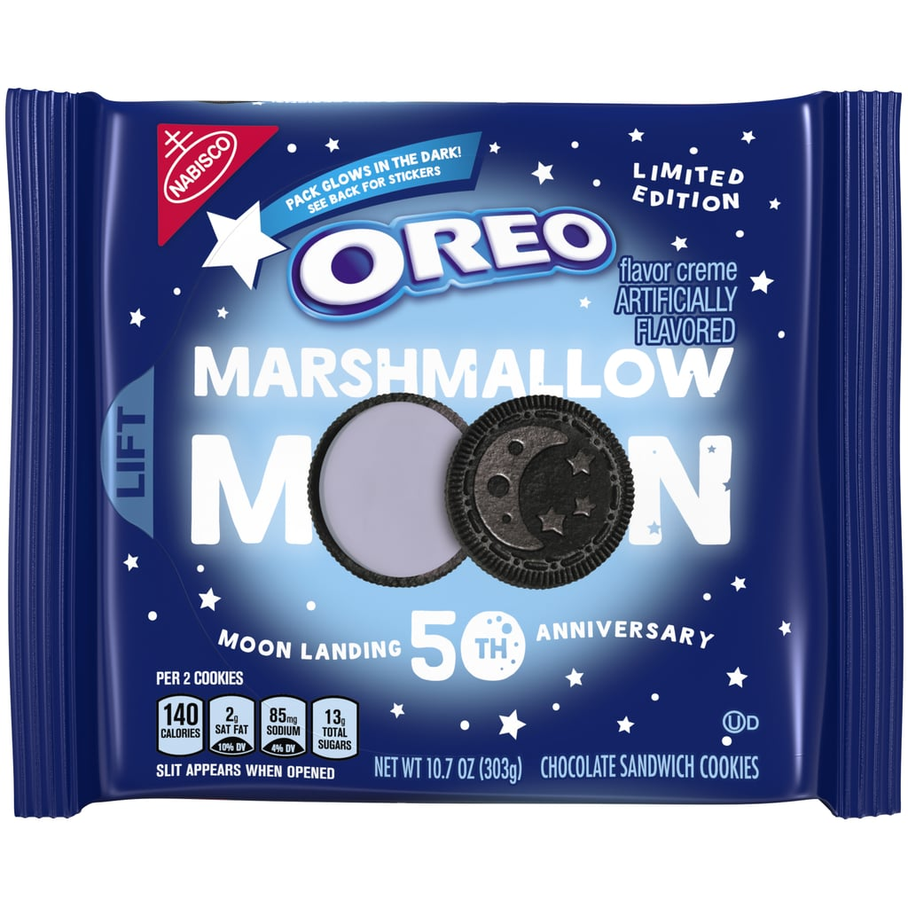 Last I checked, Oreos are made on Earth, but the brand's latest cookie has me questioning whether that's still true. In a press release on Monday, the cookie brand confirmed that Marshmallow Moon Oreos will officially be hitting shelves in honour of the 50th anniversary of the historic Apollo lunar landing. These limited-edition cookies will be stuffed with purple marshmallow-flavoured creme, and they're expected to be available in mid-June of this year. As delicious as they might taste, it's the look of these Oreos that has us really excited. Each pack of Marshmallow Moon Oreos will feature three custom cookie designs inspired by the moon landing, including an astronaut floating in zero gravity, a rocket ship blasting off, and a crescent moon next to three stars. The best part? The packageing that the cookies come in will actually glow in the dark! This year has been great for new Oreo flavours, including S'mores Oreos, Maple Creme Oreos, Latte Oreo Thins, and Mint Chocolate Chip Ice Cream Oreos, so we have no doubts that the brand's newest flavour is going to be out of this world. See Oreo's new space-themed cookie designs ahead.