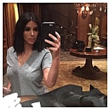 "Kim took a selfie to tell her followers ""nighty night."""