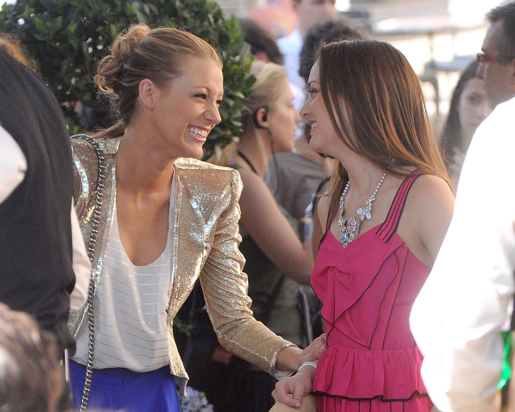 Blake Lively and Leighton Meester shared a laugh while shooting on location in Paris in July 2008.