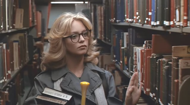 Goldie Hawn is adorable as always as a shy librarian who helps solve a mystery and falls in love with a cop played by Chevy Chase in the 1978 rom-com Foul Play.