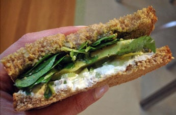 Recipe For 'Wichcraft's Goat Cheese Sandwich With Avocado, Celery, Walnut Pesto, and Watercress