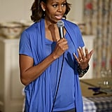 In June 2014, the former First Lady wore gray cropped skinny jeans with a cobalt blue top and black ballerina flats.