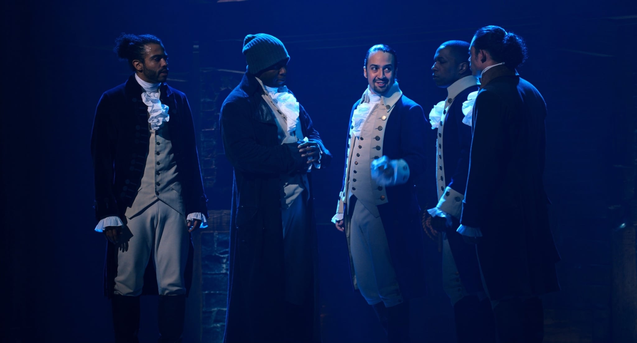 HAMILTON, from left: Daveed Diggs as the Marquis de Lafayette, Okieriete Onaodowan as Hercules Mulligan, Lin-Manuel Miranda as Alexander Hamilton, Leslie Odom Jr. as Aaron Burr, Anthony Ramos as John Laurens, 2020. Disney+ / Courtesy Everett Collection