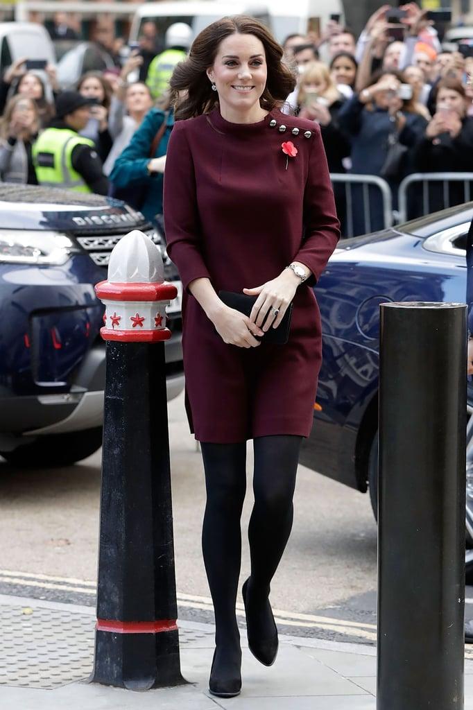Kate Wearing a Burgundy Dress in November 2017