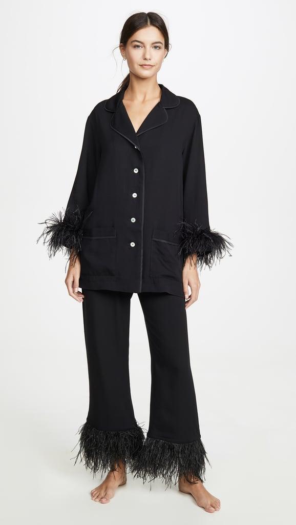 Sleeper Black Tie PJ Set With Feathers