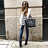 A Striped Shirt, a Fur Vest, Jeans, and Booties