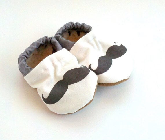 Scooter Booties Mustache Crib Shoes