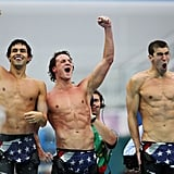 Ricky Berens, Ryan Lochte, and Michael Phelps
