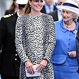 Back in June 2013, the Duchess of Cambridge proved that she's not afraid to wear a bold pattern with this Dalmatian coat dress from Hobbs.
