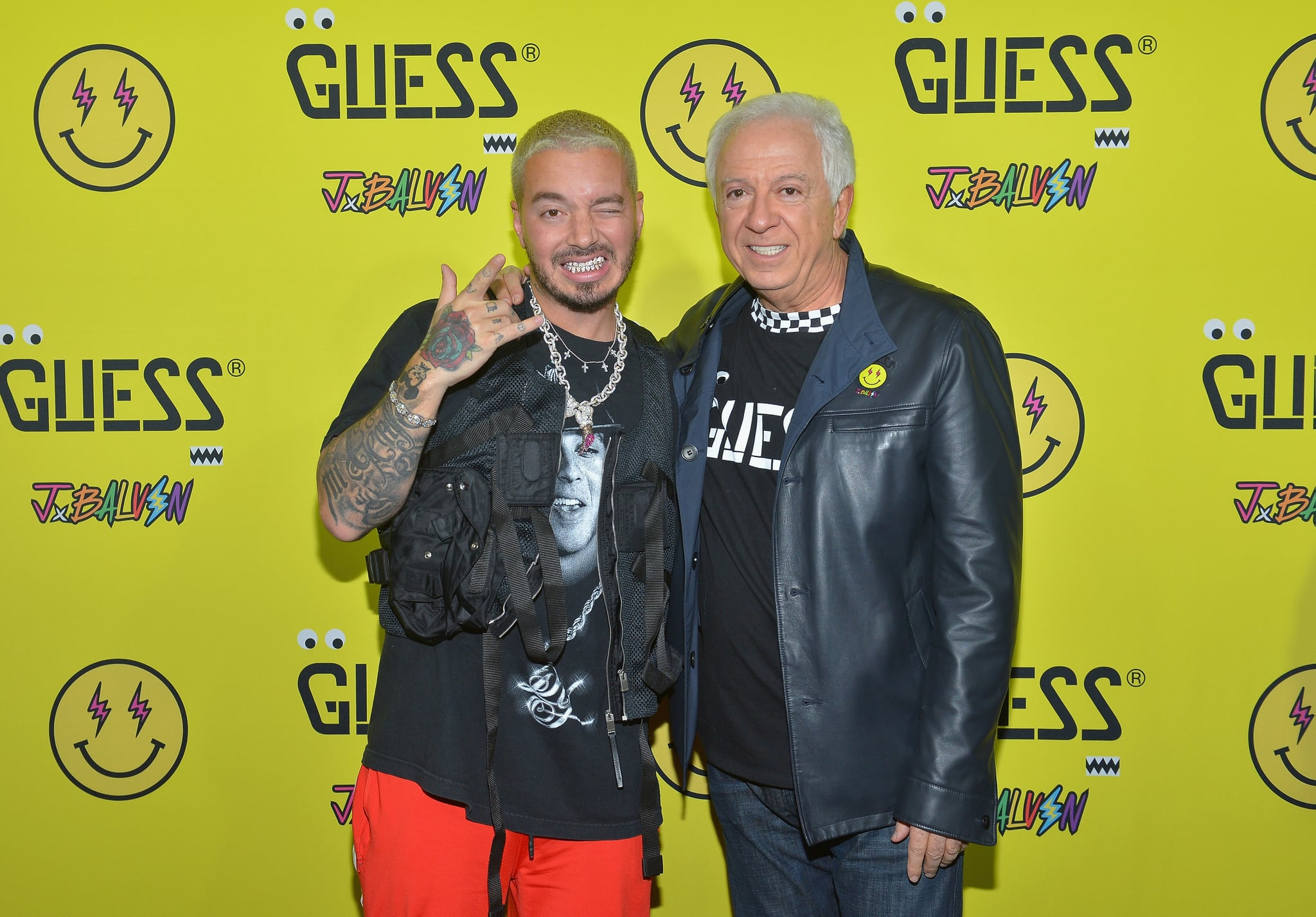 LOS ANGELES, CA - FEBRUARY 08:  J Balvin and Paul Marciano attend GUESS x J Balvin launch party on February 8, 2019 in Los Angeles, California.  (Photo by Donato Sardella/Getty Images for GUESS)