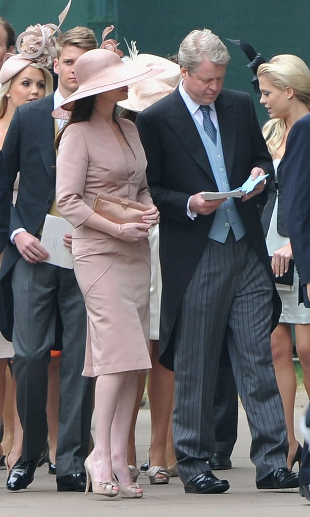 Prince William's uncle, Earl Charles Spencer, was accompanied by his new fiancée, Karen Gordon, as he arrived for the royal wedding. The Spencer family have a prominent position in Westminster Abbey, sitting right behind the Middletons. They are representing the groom's maternal family. Wills has said he gave Kate his mother's engagement ring so that she could be part of the ceremony, and we also got details yesterday about how Diana will be honored during the royal wedding ceremony. Chelsy Davy, the Beckhams, Elton John, Guy Ritchie, and Tara Palmer-Tomkinson are also in attendance, so check out all the pictures!