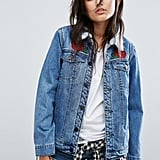 Santa Cruz Oversized Sherpa Lined Denim Jacket With Rose Applique