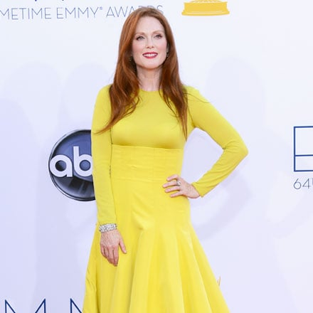 Pictures of Julianne Moore in Yellow Christian Dior Couture Dress at the 2012 Emmy Awards