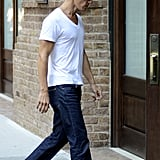 Matthew McConaughey's thin frame was on display under his tight white t-shirt in NYC.