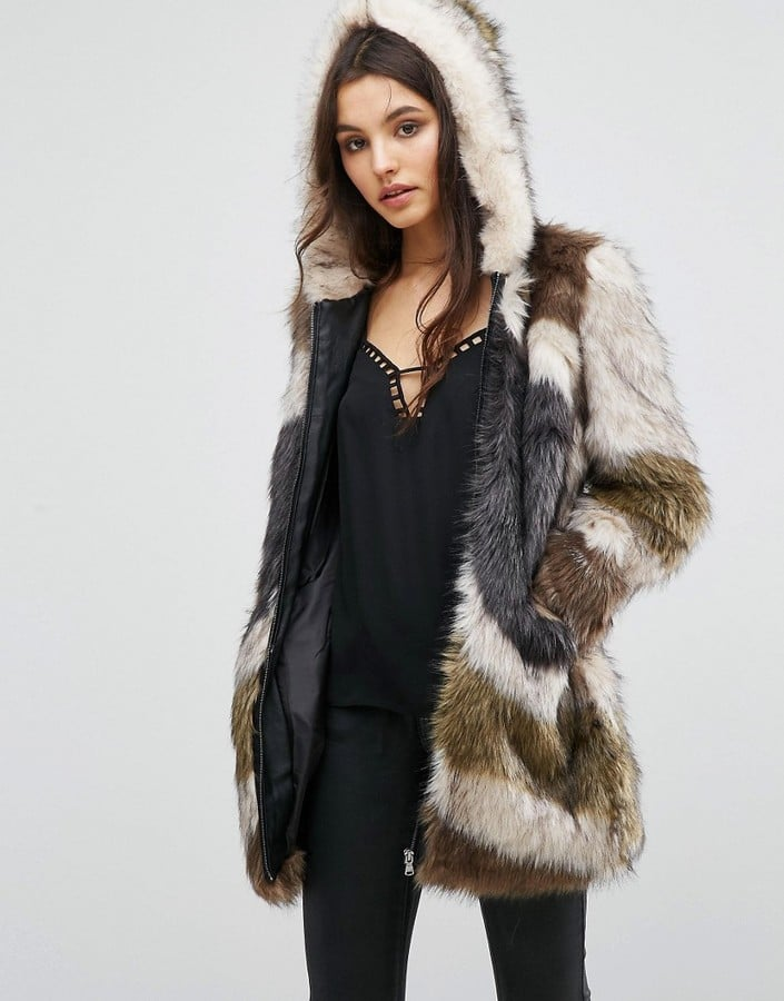 a0d4e1c99c46 Urban Code Faux Fur Hooded Coat In Abstract Fur | Best Hooded Coats ...