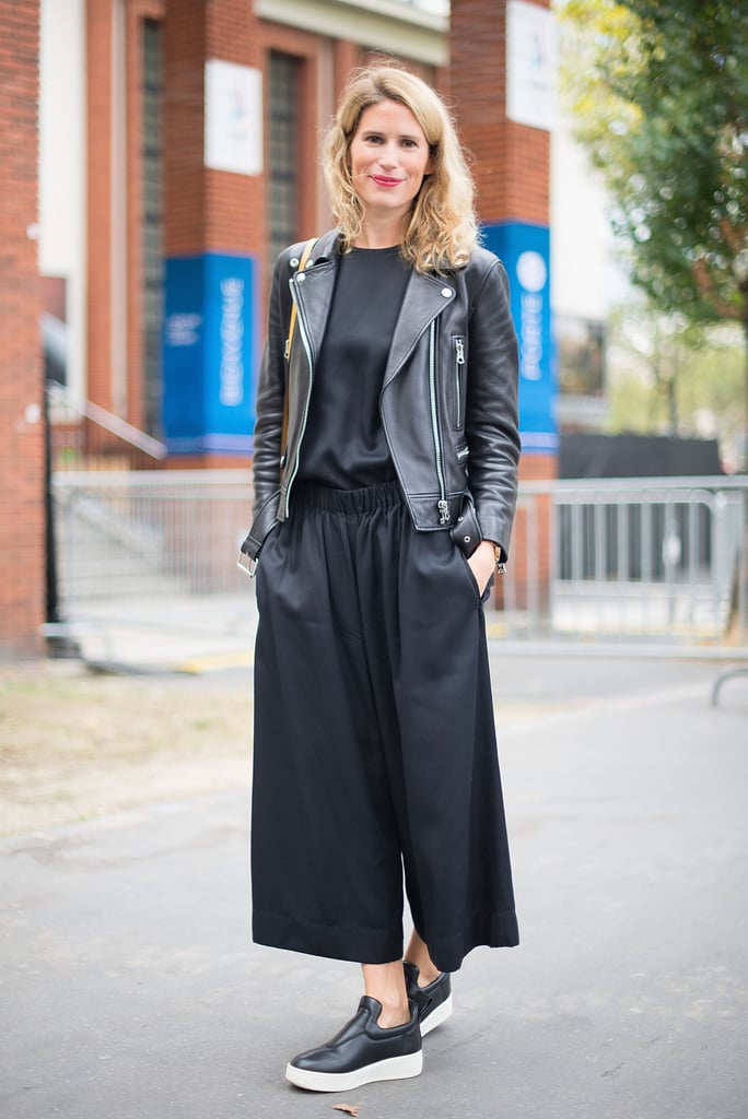 The leather jacket may need to come off if it's too hot, but a pair of culottes and a durable flatforms are not only sensible, but stylish.