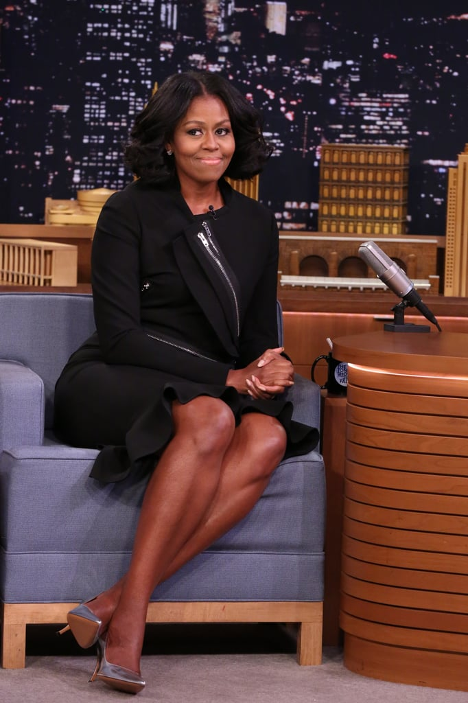 For a visit to The Tonight Show in 2017, Michelle wore this zippered Givenchy dress with a ruffled hemline. She played up the edgy details with metallic pumps.