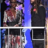 Jared couldn't even keep his eyes off of Lupita. He only broke his stare to look at the teleprompter.