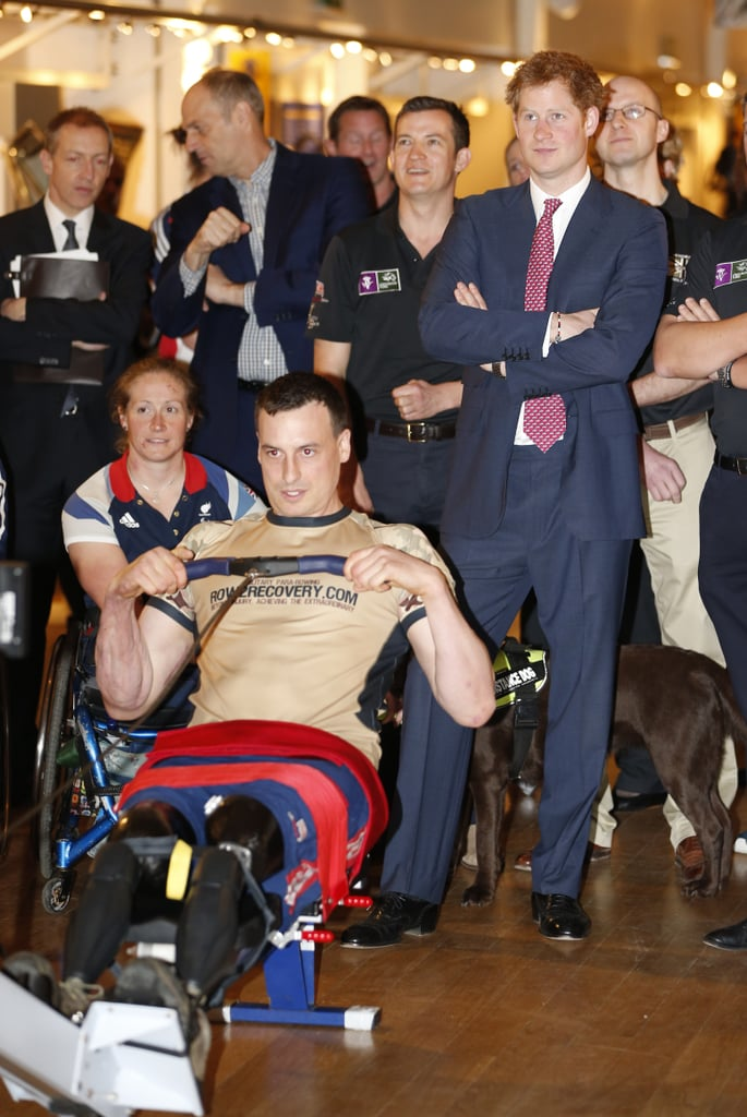 Prince Harry watched a demonstration of indoor rowing at the River and Rowing Museum in London on Monday. He was there as part of the Row2Recovery team, which is made up of wounded servicemen.