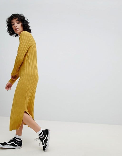 631703f0638 ASOS DESIGN knitted midi dress in wide rib with v back