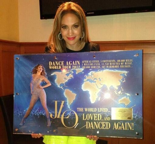 Jennifer Lopez showed off a plaque from her Dance Again World Tour. Source: Twitter user JLo