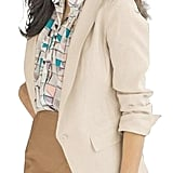 LD Womens Cotton Linen One Button Work Blazer Jacket Suits Coat