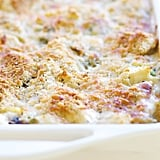 Chicken, linguine, and frozen peas are enrobed in a rich cream sauce, then topped with parmesan and breadcrumbs that become golden brown when baked in the oven. Get the recipe: chicken tetrazzini